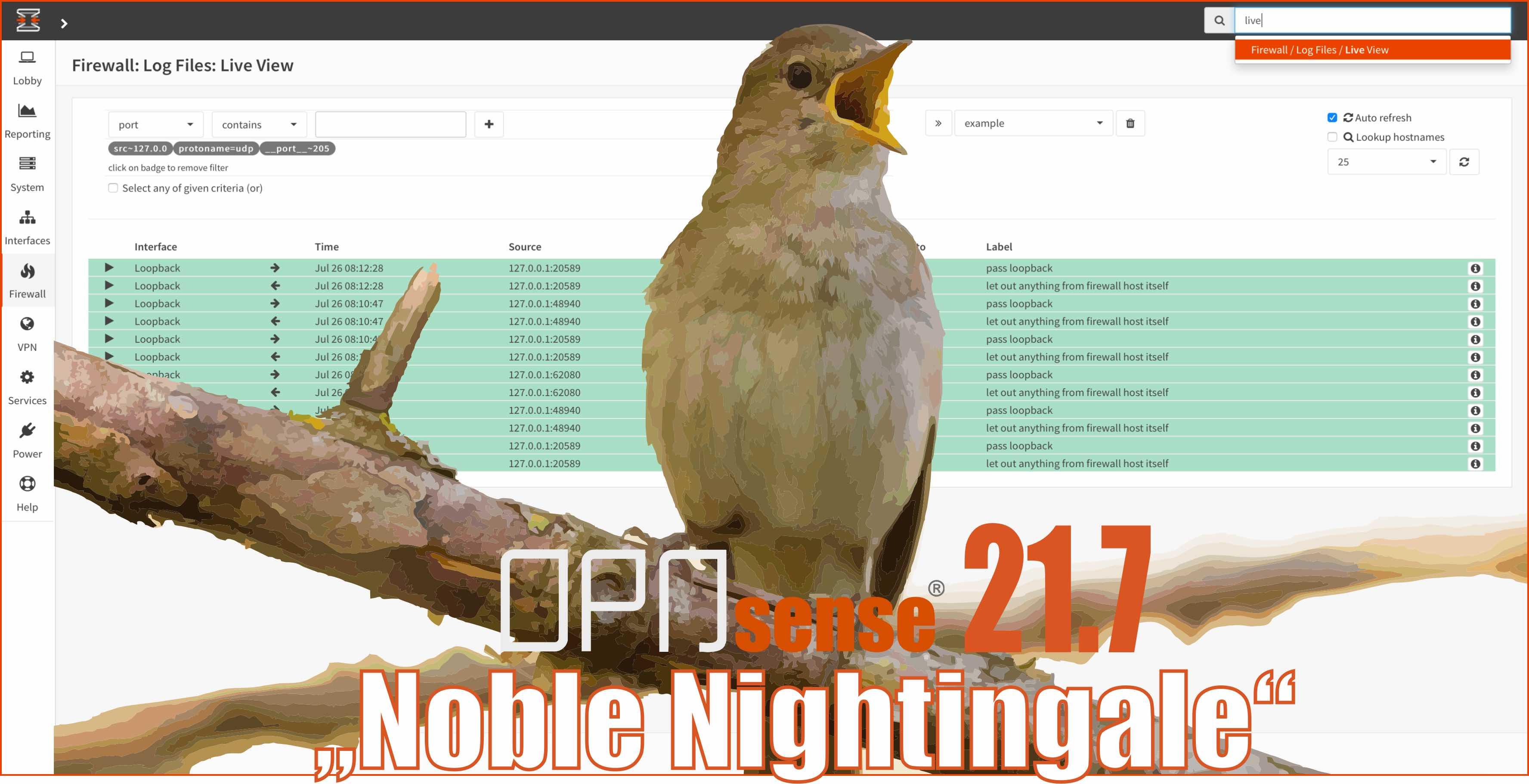 Press Photo OPNsense 21.7 Noble Nightingale